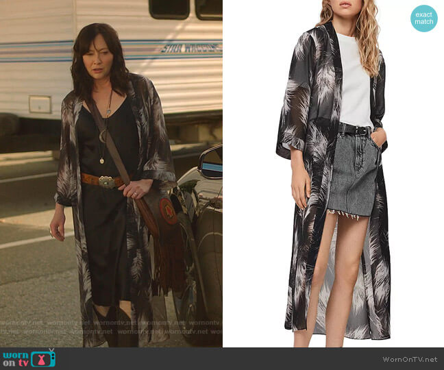 Carine Feather Print Kimono Robe by All Saints worn by Shannen Doherty  on BH90210