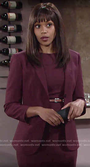 Amanda's burgundy sheath dress and blazer on The Young and the Restless