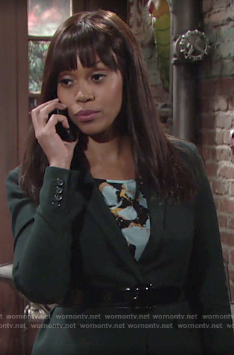 Amanda's printed top and green suit on The Young and the Restless