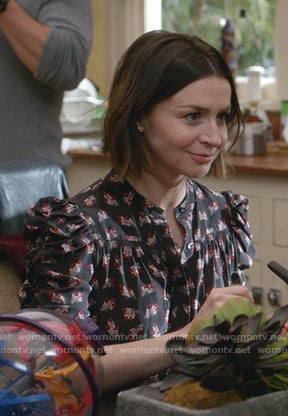 Amelia's black floral puff sleeve top on Greys Anatomy