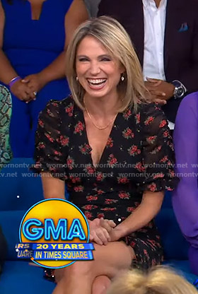 Amy's black floral v-neck dress on Good Morning America