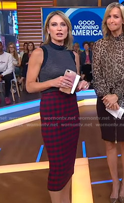 Amy's striped top and gingham check pencil skirt on Good Morning America