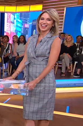 Amy's grey plaid sleeveless dress on Good Morning America