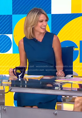 Amy's navy asymmetric v-neck dress on Good Morning America