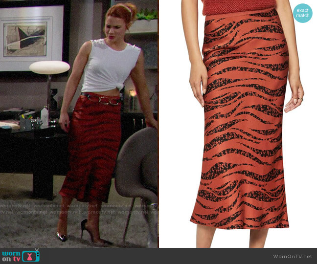 Anine Bing Bar Print Silk Midi Skirt worn by Sally Spectra (Courtney Hope) on The Bold & the Beautiful