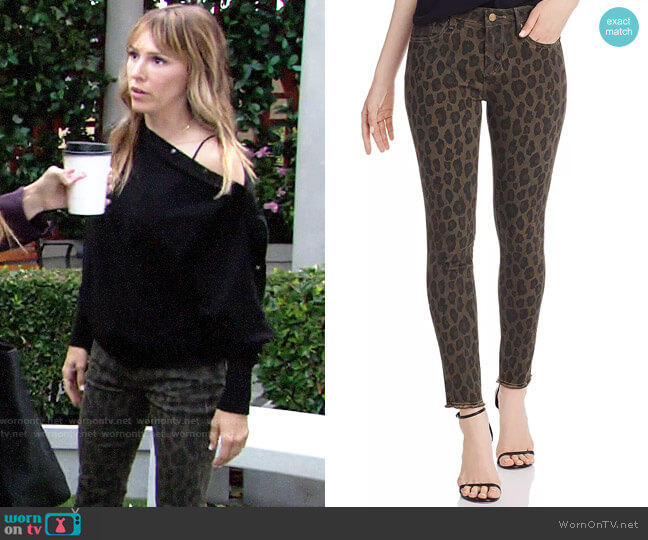 Aqua Frayed Ankle Skinny Jeans in Leopard worn by Chloe Mitchell (Elizabeth Hendrickson) on The Young & the Restless