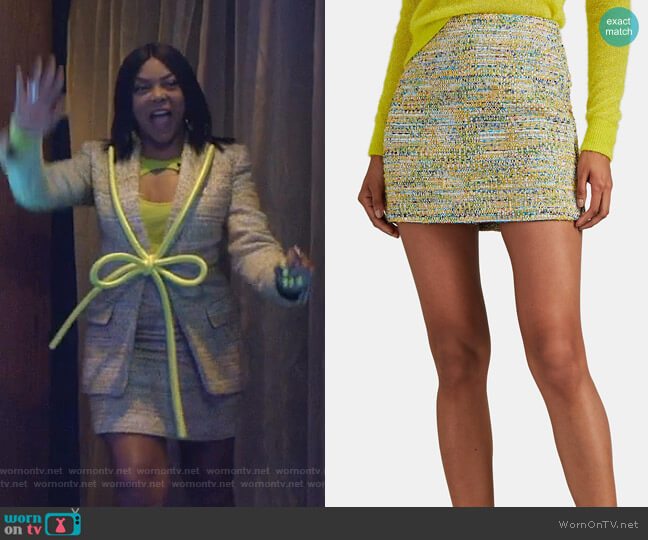 Crystal-Embellished Tweed Miniskirt by Area worn by Cookie Lyon (Taraji P. Henson) on Empire