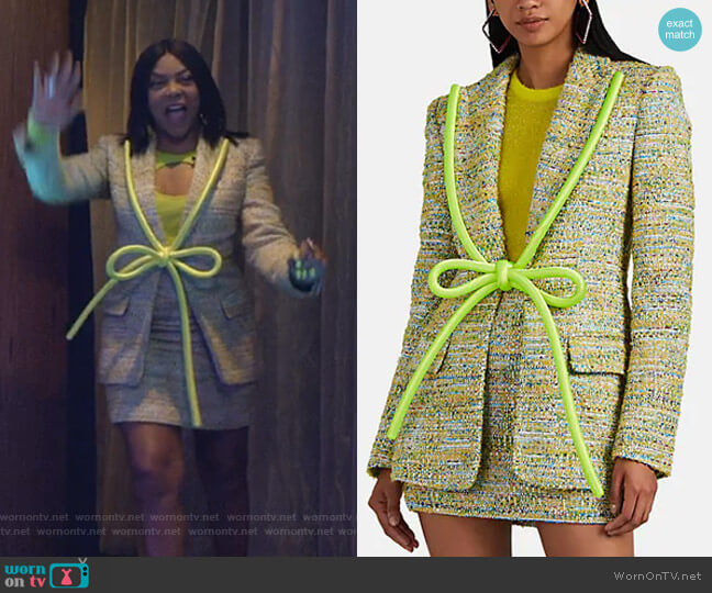 Rope-Lapel Metallic Tweed Blazer by Area worn by Cookie Lyon (Taraji P. Henson) on Empire