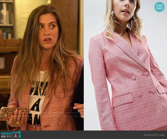 ASOS DESIGN Tailored Double Breasted Blazer in Red Check worn by McAfee (Laura Dreyfuss) on The Politician