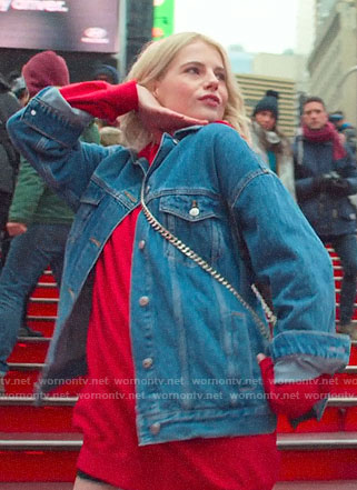 Astrid's red hoodie dress and denim jacket on The Politician