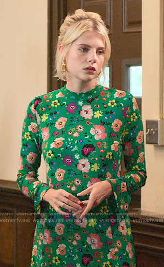 Astrid's green floral dress on The Politician