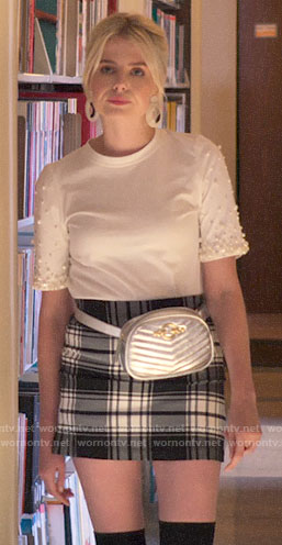 Astrid's white pearl embellished top and plaid skirt on The Politician