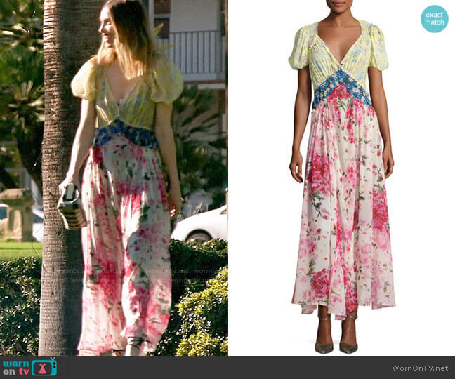 Attico Mixed Floral Georgette Maxi Dress worn by Whitney Port  on The Hills New Beginnings