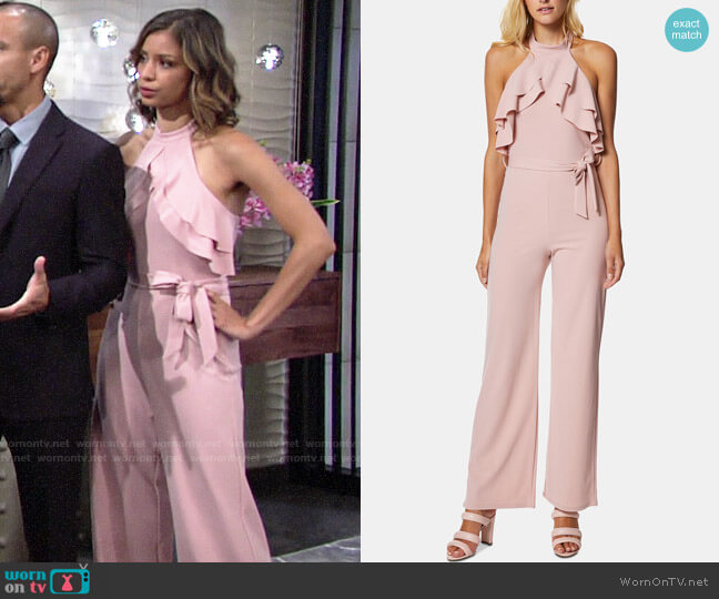 Avec Les Filles Ruffle Halter Jumpsuit worn by Elena Dawson (Brytni Sarpy) on The Young & the Restless