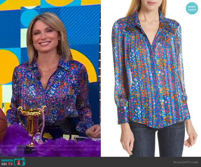 Rive Floral Striped Blouse by Ba&Sh worn by Amy Robach  on Good Morning America