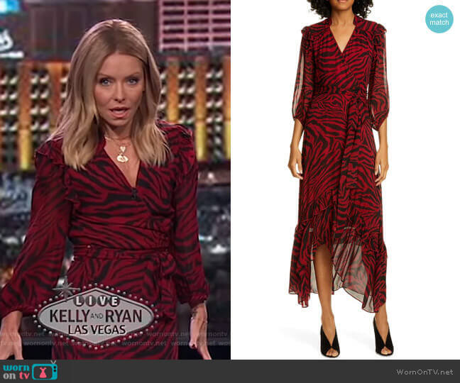Selena Wrap Midi Dress by Ba&Sh worn by Kelly Ripa  on Live with Kelly & Ryan