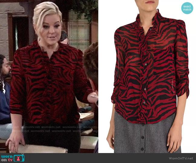 ba&sh Sisco Zebra-Print Blouse worn by Maxie Jones (Kirsten Storms) on General Hospital