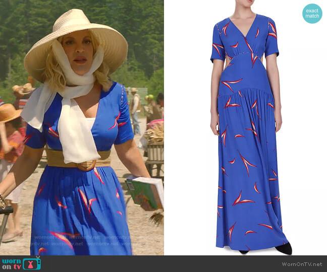 Tiana Cutout Leaf Print Maxi Dress by Ba&Sh worn by Tori Spelling  on BH90210