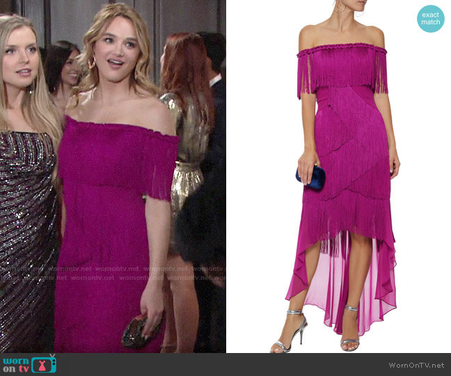 Badgley Mischka Off-the-shoulder Fringed Crepe and Chiffon Gown worn by Summer Newman (Hunter King) on The Young & the Restless