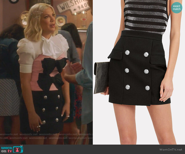 Button-Embellished Mini Skirt by Balmain worn by Tori Spelling  on BH90210