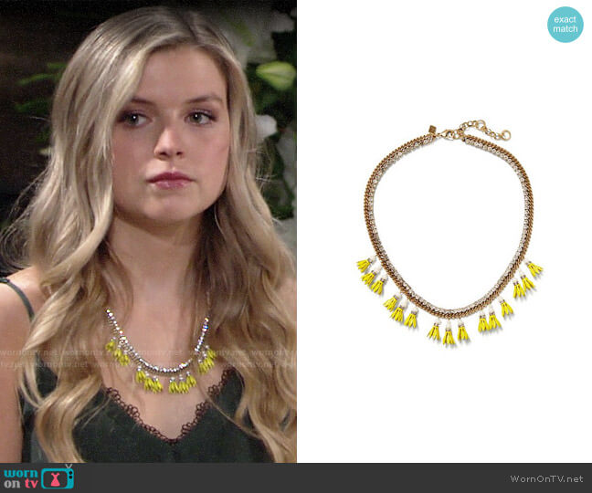 Banana Republic Floral Bell Necklace worn by Zoe Hardisty (Anna Grace Barlow) on The Young & the Restless