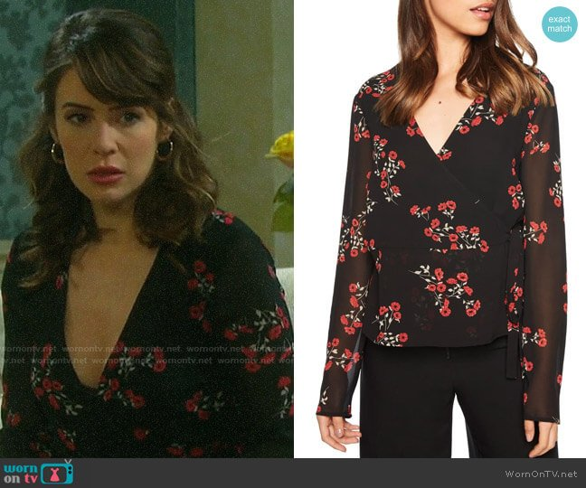 Bardot Mira Wrap Top worn by Sarah Horton (Linsey Godfrey) on Days of our Lives