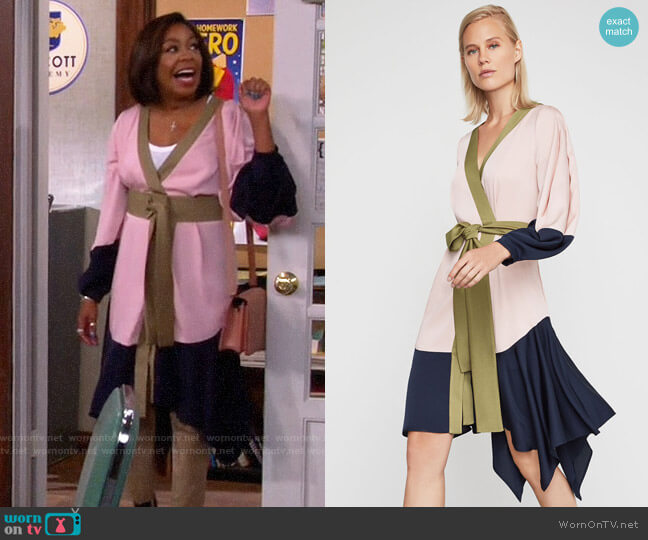 Bcbgmaxazria Asymmetrical Colorblocked Wrap Dress worn by Tina (Tichina Arnold) on The Neighborhood