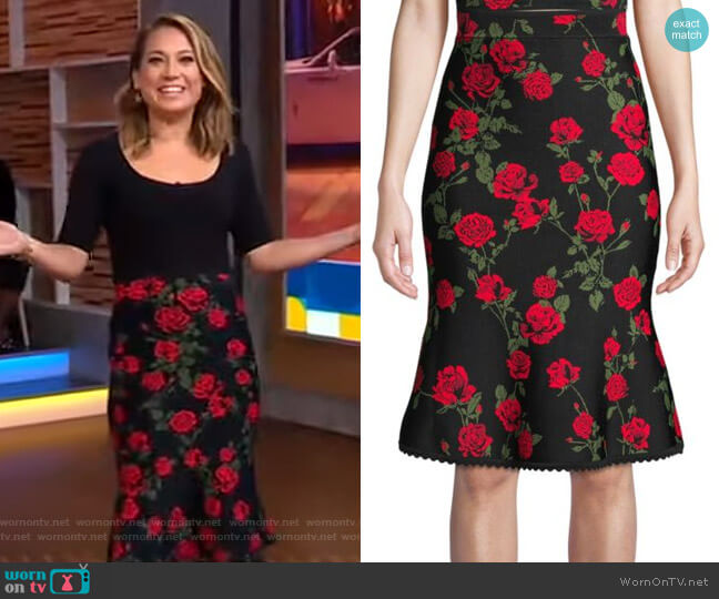 Floral A-Line Skirt by Bcbgmaxazria worn by Ginger Zee  on Good Morning America