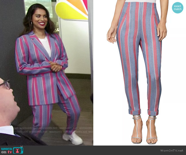Bcbgmaxazria Striped Slim Ankle Pant worn by Lilly Singh  on A Little Late with Lilly Singh