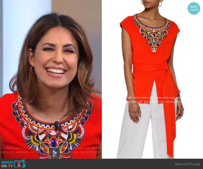 Bead-Embellished Embroidered Crepe Top by Camilla worn by Cecilia Vega  on Good Morning America
