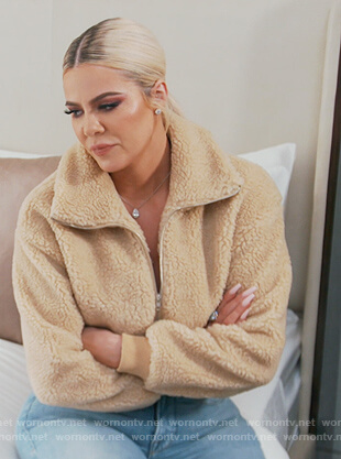 Khloe's fur cropped jacket on Keeping Up with the Kardashians