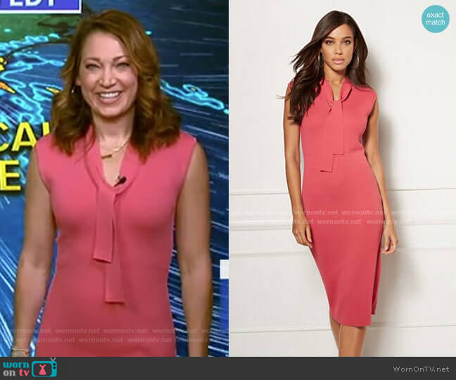 Bella Tie Neck Sweater Dress - Eva Mendes Collection by New York & Company worn by Ginger Zee  on Good Morning America