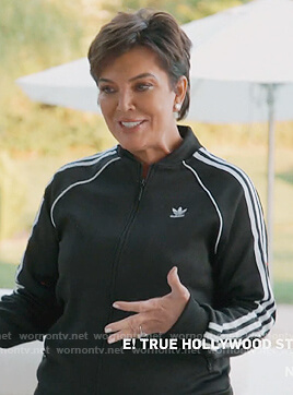 Kris's black Adidas track jacket and pants on Keeping Up with the Kardashians