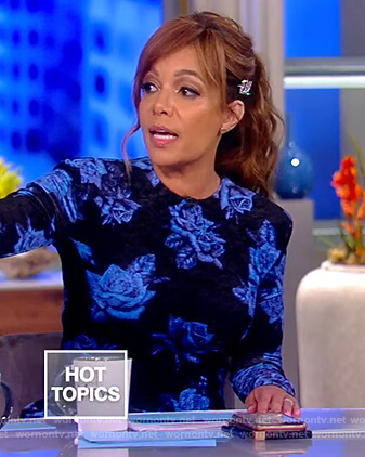 Sunny's black and blue floral dress on The View