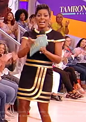 Tamron's black and gold trim dress on Tamron Hall Show