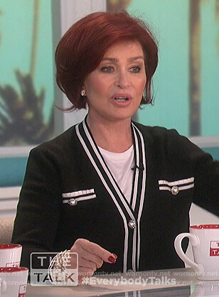 Sharon's black cardigan with contrasting stripes on The Talk