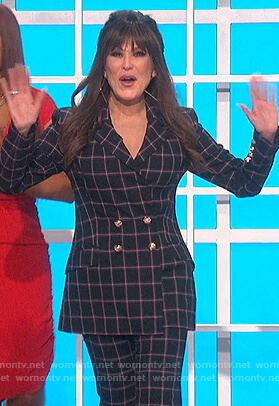 Marie's black check double breasted blazer on The Talk