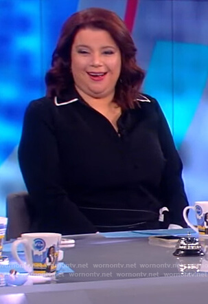 Ana's black contrast tie waist dress on The View