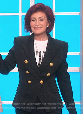 Sharon's black double breasted blazer on The Talk