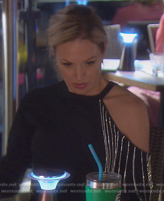 Braunwyn's black embellished cutout sweater on The Real Housewives of Orange County