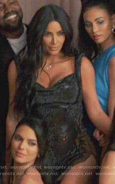 Kim's black embellished mini dress on Keeping Up with the Kardashians