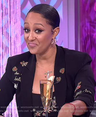 Tamera's embroidered blazer and dress on The Real