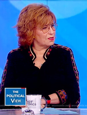 Joy's black embroidered trim blouse on The View