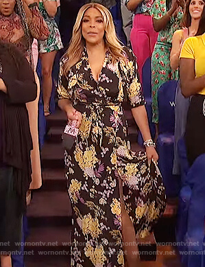 Wendy's black floral wrap dress on The Wendy Williams Show