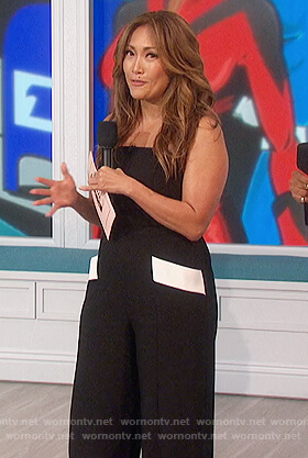 Carrie's black jumpsuit with contrasting pockets on The Talk
