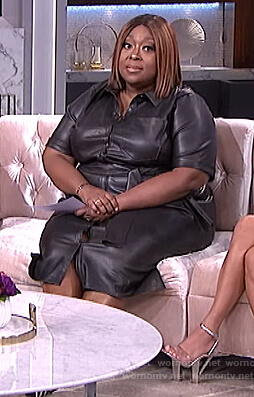Loni's black leather trench dress on The Real