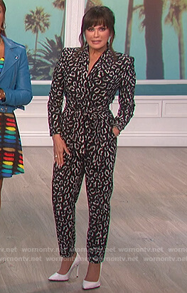 Marie's black leopard jumpsuit on The Talk