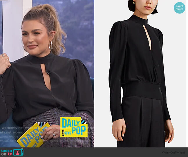 Silk Satin Keyhole Blouse by Frame worn by Carissa Loethen Culiner  on E! News