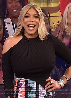 Wendy's black shoulder cutout top on The Wendy Williams Show