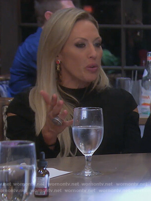 Braunwyn's black sleeve cutout dress on The Real Housewives of Orange County
